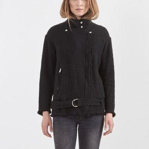IRO Dorthea Black Tweed Biker Moto Jacket Size 8